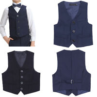 Gentleman Boys Kids Vest Waistcoat Birthday Tuxedo Wedding Party Formal Suits