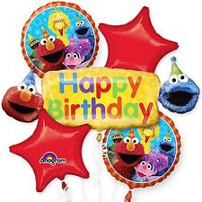 Sesame Street Elmo Birthday Party Favor Supplies 5CT Foil Balloons Bouquet