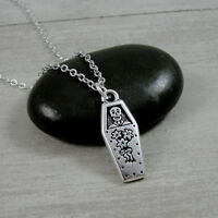 Silver Coffin Necklace - Skeleton Skull Tombstone Charm - Halloween Jewelry NEW