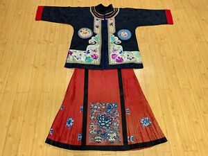 Antique vintage Chinese hand embroidered mandarin Jacket robe blouse skirt china