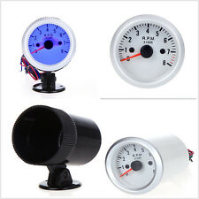 "DC12V Silver Shell Blue LED 2"" 52mm Auto Off-Road Tachometers Gauge With Holder"