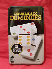New Cardinal Double Six Dominoes, 28 Color Dot, Collectible Tin Can Toys Games