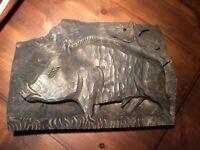 Reliefbild Wildschwein aus Holz Geschnitzt, Eber,