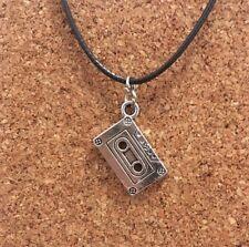 Retro Silver Plated 80's 90's Cassette Tape Pendant Choker Chocker Necklace