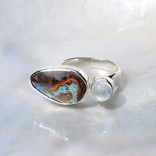 Boulderopal Ring, 925er Silber, Edelsteinring (21138), Opal, mit Mondstein