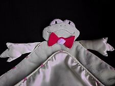 Green Frog Lovey Security Baby Blanket with Red Bow Tie Satin Back Arms