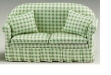 Dollhouse Miniatures 1:12 Scale Sofa with Pillows, Green/White #CLA10777