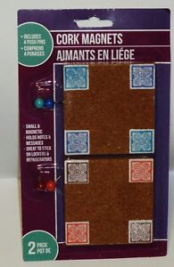 2 Pack Of Cork Magnet Includes 4 Push Pins Holds Notes & Messages NIP
