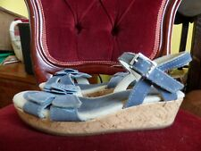 GIRLS CLARKS  LEATHER OPEN TOE RIPTAPE CASUAL SUMMER WEDGE SANDALS 13
