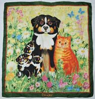 Artist GISELA BUOMBERGER Signed BEYELER Dogs Cat FLORAL Field Green Silk SCARF