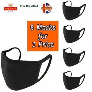5 pcs Face Masks Reusable Washable 100% Cotton Cover double layer non medical UK