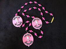 "Cool ""Queen Wench"" Pirate Skull Bones Pink Mardi Gras Gasparilla Bead (B751)"