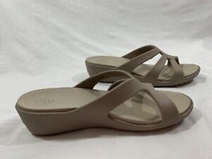 New Crocs Dual Comfort Tan High Heel Slide Sandals 10 W