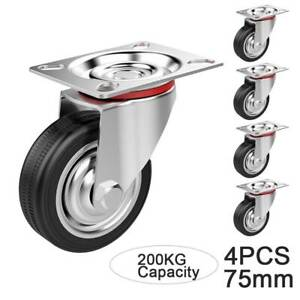 4 Castor Wheels + Screws 75mm 200KG Rubber Trolley Furniture Caster Garage Table
