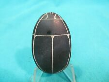 """2"""" Carved Egyptian Scarab Black Stone With Hieroglyphics"""