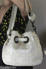 Vintage Christian Dior Drawstring White Leather Cannage Shoulder Bag