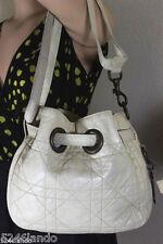 Vintage Christian Dior Drawstring White Leather Cannage Shoulder Bag