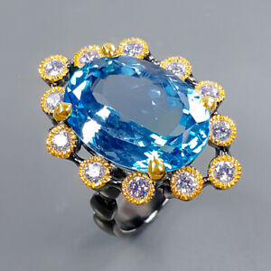 SET 20ct Natural Swiss Blue Topaz Ring Silver 925 Sterling  Size 8.75 /R173246