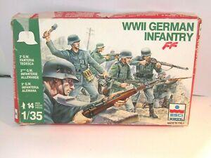RARE ESCI 1/35 WWII GERMAN INFANTRY  X 14 FULL MINT FIGURE SET BOXED SET 1983