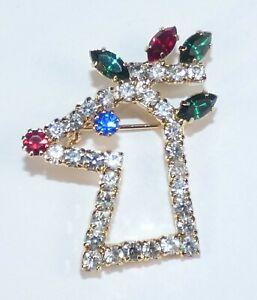 Vintage Christmas Brooch Rudolph Reindeer Prong Set Navette Rhinestone Pin