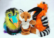3 X THE PUPPET COMPANY HAND PUPPETS HOOPEE BIRD PARROT FOX SOFT TOY BUNDLE