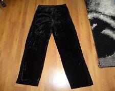 GIORGIO ARMANI BLACK VELVET RIBBED TEXTURED WIDE LEG TUXEDO PANTS-IT 48