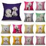 Cotton Linen Bichon Frise Pillow Case Sofa Waist Throw Cushion Cover Home Decor