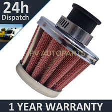 18mm AIR OIL CRANK CASE BREATHER FILTER MOTORCYCLE QUAD CAR RED & CHROME CONE