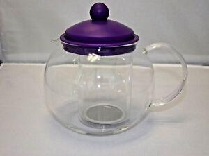GIBSON Glass 23 oz. 680 ml. Teapot Tea Coffee Kettle With Infuser Purple