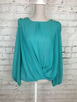 Womens ATMOSPHERE Teal Long Sleeve Sheer Drape Front Blouse Top Size 10