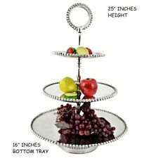 PEWTER 3 TIER BEADED FRUIT STAND WESTERN HOME DECOR KITCHEN ART BRAND NEW