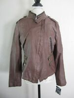 Steve Madden Brown Grey Faux Leather Moto Jacket L NWT