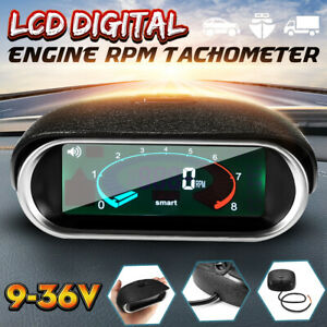 Universal LCD 50-9999RPM Tachometer Digital Engine Tach Gauge Car Boat Truck Van