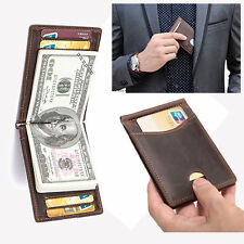 Men's Genuine Leather Bussiness Wallet Brown High Quality Money Clip Mini Slim