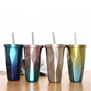 Stainless Steel Mug Portable Travel Tumbler Coffee Ice Cup With Drinking Straw