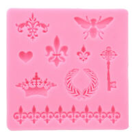 Crown Fleur Heart Fondant Cake Silicone Mold Cupcake Decorating Tools MP