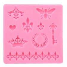 crown fleur de lis heart butterfly collection fondant cupcake Silicon mould Jian