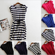 Summer Women Casual Stripe Tank Sleeveless Dress Ladies Casual Cotton Mini Dress