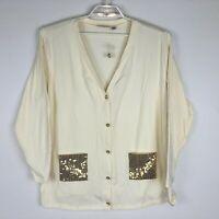 NWT Quacker Factory Women's Cream Cotton Cardigan w/ Gold Sequin Pockets 1X