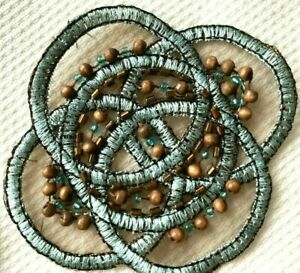 """Embroidered Celtic Applique 3"""" Hand Sewn Glass Wood Beads Blue Copper Brown 1pc"""