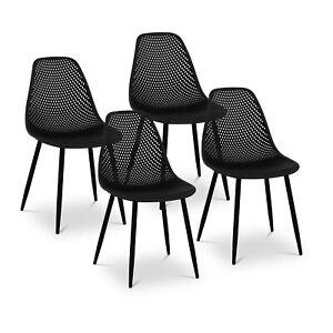 Lot de 4 Chaises Design De Cuisine Salle À Manger Plastique 52x46cm Noir 150kg