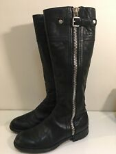 Franco Sarto Panko Black Leather Zip Riding  Motorcycle Boots Womens Size 7M