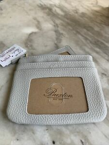 Buxton Grey Leather Zip-Top Coin ID Wallet w/ Removable Inner Sleeve NWT