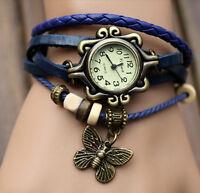 Retro Weave Around Leather Bracelet Watch Fashion Lady Woman Quartz Wrist Watch