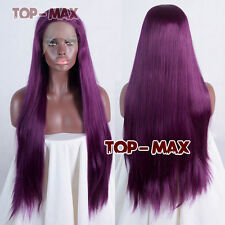 Popular 70cm Heat Resistant Mixed Purple Straight Women Hair Lace Front Wig