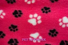 NEW VET BED - RUBBER BACKED - CERISE WITH BLACK AND WHITE PAWS