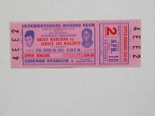 ROCKY MARCIANO vs JERSEY JOE WALCOTT Boxing Ticket 1953 Fight Boxers Sports VTG