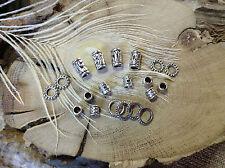 Dreadlock Beads  20 x Silver Tone 4-8mm hole Mixed Celtic Tribal Tubes & Rings