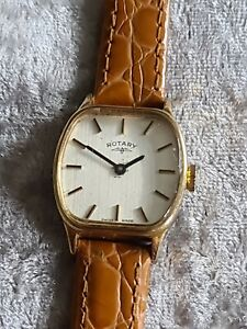 Ladies 1970s Gold Plated Vintage ROTARY Swiss Made Quartz Wristwatch