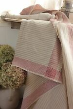 Linen Vintage Mangle cloth fabric RARE stripes BEAUTIFUL  cloth Curtain drape